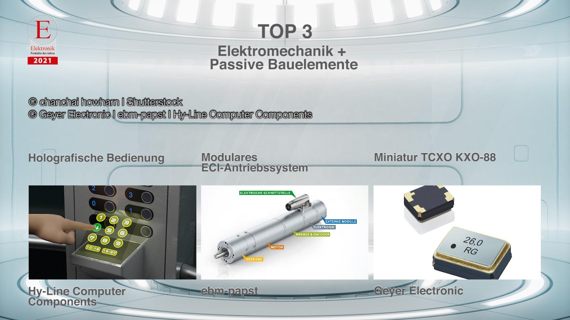 Die »Produkte des Jahres 2021« in der Rubrik »Elektromechanik + Passive Bauelemente«