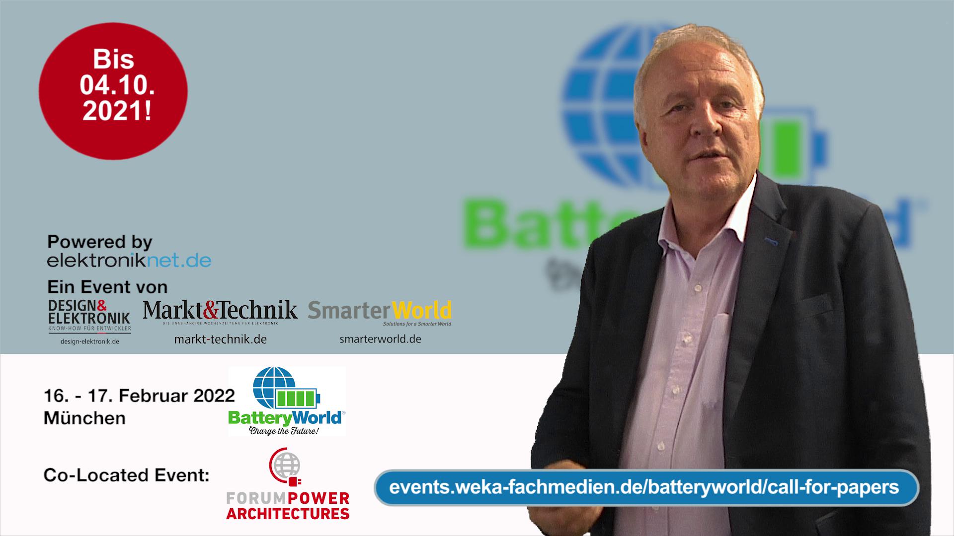 Verlängerung Call for Papers für die BatteryWorld 2022 und das Forum Power Architectures 2022