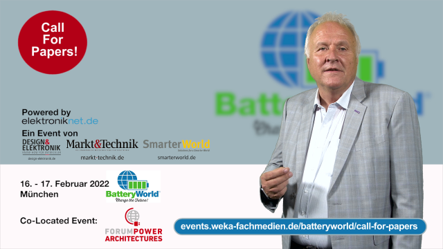Am 16. und 17. Februar 2022 findet die dritte BatteryWorld – co-located mit dem Forum Power Architectures  – in München statt. Wenn Sie bei dieser Präsenzveranstaltung als Referent dabei sein wollen – der Call for Papers läuft bis zum 17. September 2021: https://events.weka-fachmedien.de/batteryworld/call-for-papers/
